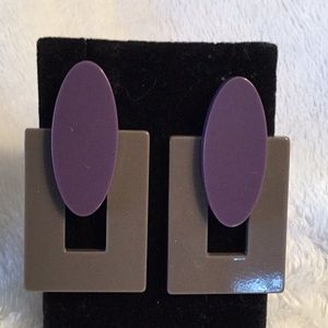 PURPLE & GREY HIGH SHINE ACRYLIC POST EARRINGS